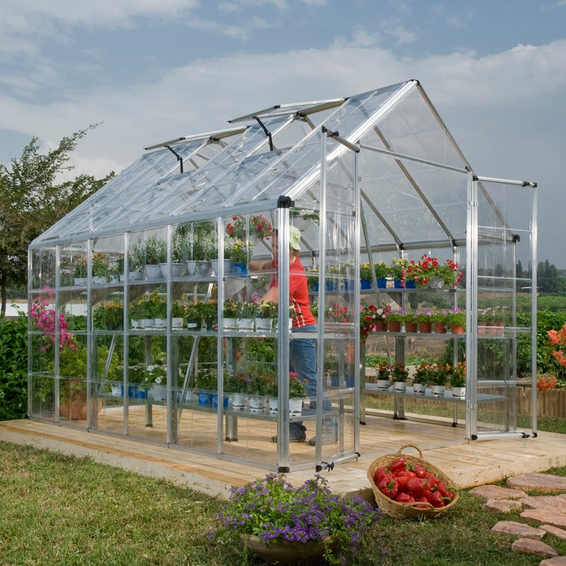 Snap and Grow 8' x 12' Silver Frame Hobby Greenhouse by Palram