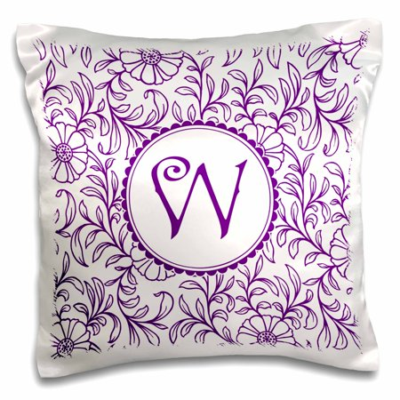 Purple Circle (3dRose Letter W in Circle over Swirly Floral Pattern in Purple and White - Pillow Case, 16 by)