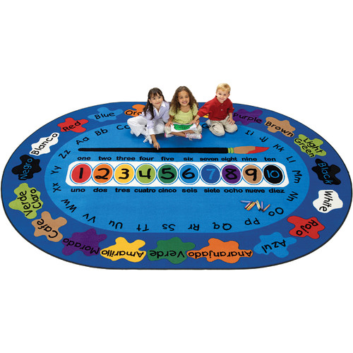Carpets for Kids Bilingual Spanish ''Paint by Numero'' Kids Area Rug