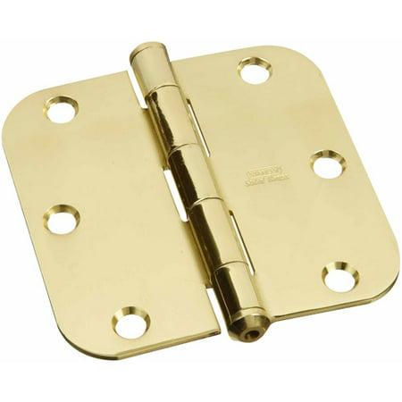 """Stanley Hardware 800130 3.5"""" x 3.5"""" Solid Brass Round Corner Hinges"""