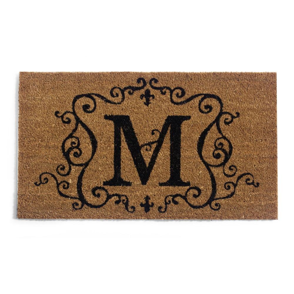 """Monogram """"M"""",Coir Floormat,28x16 Inches"""