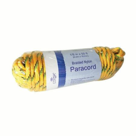 Corda 1/8in x 50ft Yellow Braided Nylon Paracord