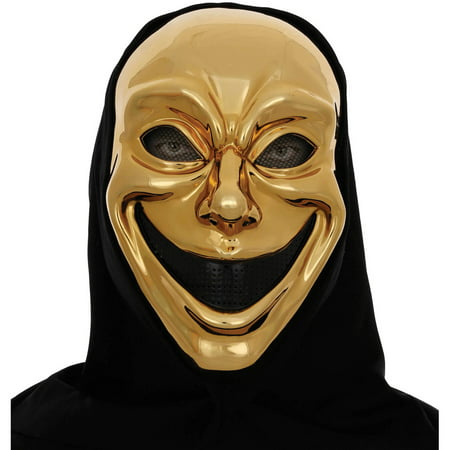 Metallic Gold Smile Mask Muse Of Comedy Halloween Accessory