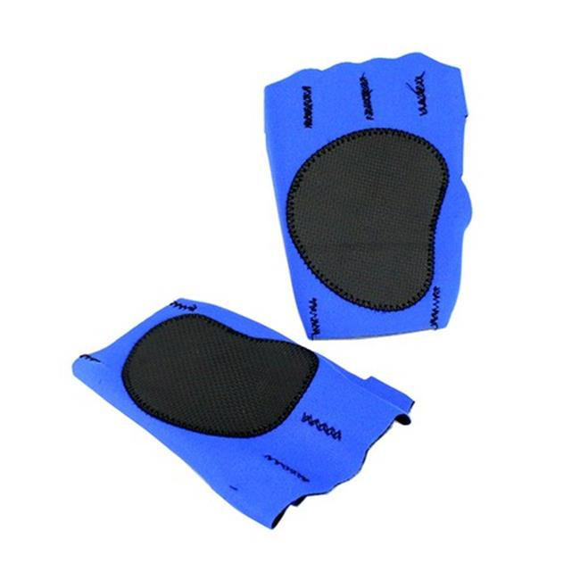 9433-L Perrini Blue Fingerless Sport Gloves with Cloth Tie Wrist Strap, Large
