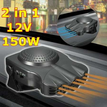 2 In1 Portable Car Heater Heating Hot Cool Cooling Fan 12V 150W Windscreen Demister Defroster Universal Vehicle Auto SUV Van Caravan Truck Cigarette Lighter Socket