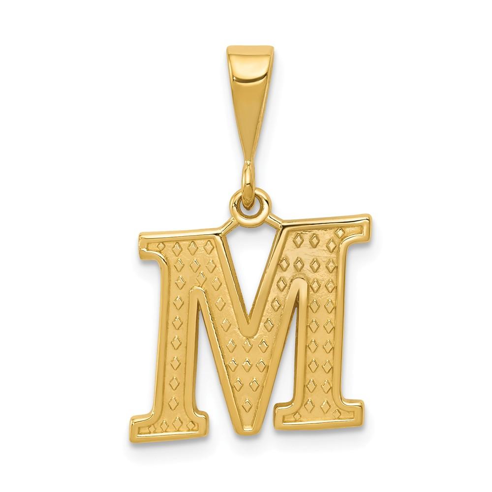 14k Yellow Gold Initial M Charm Pendant