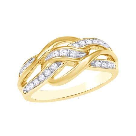 Round Cut White Natural Diamond Loose Knot Ring in 10k Yellow Gold (0.25 Cttw)