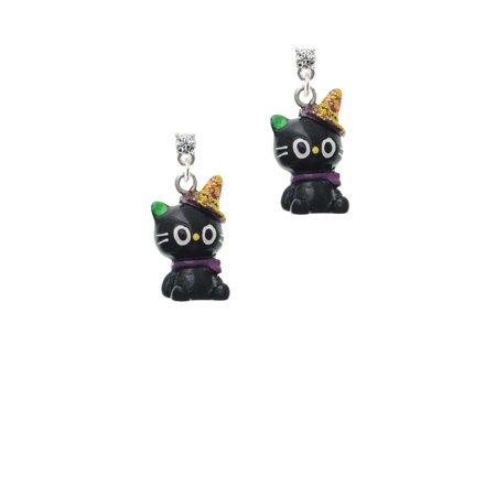 Resin Black Kitty Cat with Witch Hat Clear Crystal Post Earrings