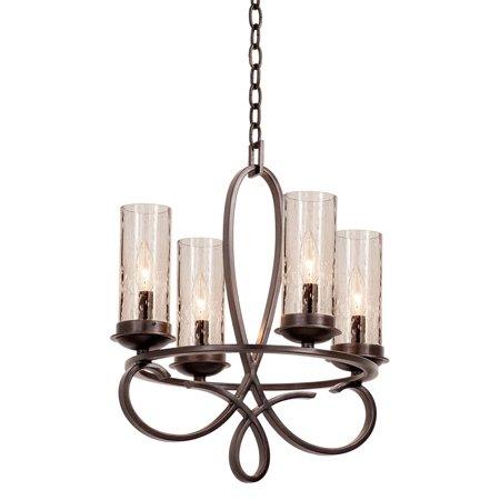 "Chandeliers 4 Light Bulb Fixture With Country Iron Finish Hand Forged Iron and Seeded Glass E12 18"" 240 Watts"