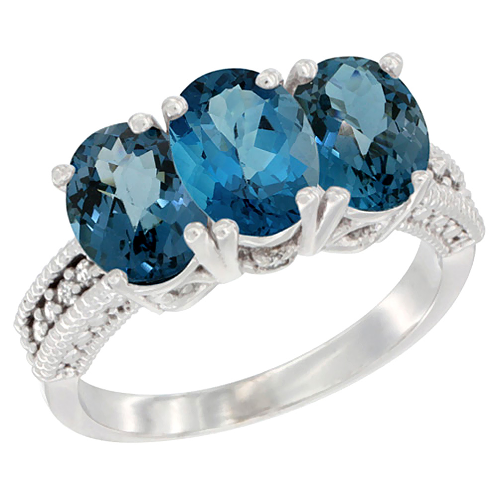 14K White Gold Natural London Blue Topaz & Ring 3-Stone 7x5 mm Oval Diamond Accent, sizes 5 10 by WorldJewels