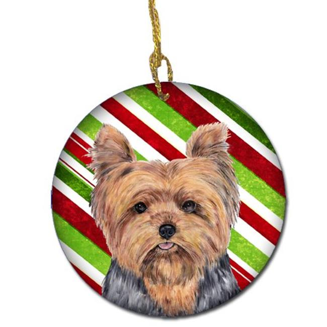 Carolines Treasures SC9348-CO1 Yorkie Candy Cane Holiday Christmas Ceramic Ornament, 2. 81 Dia.