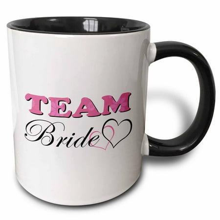 3dRose Wedding Party - Team Bride - Pink - Two Tone Black Mug, 11-ounce - Team Bride