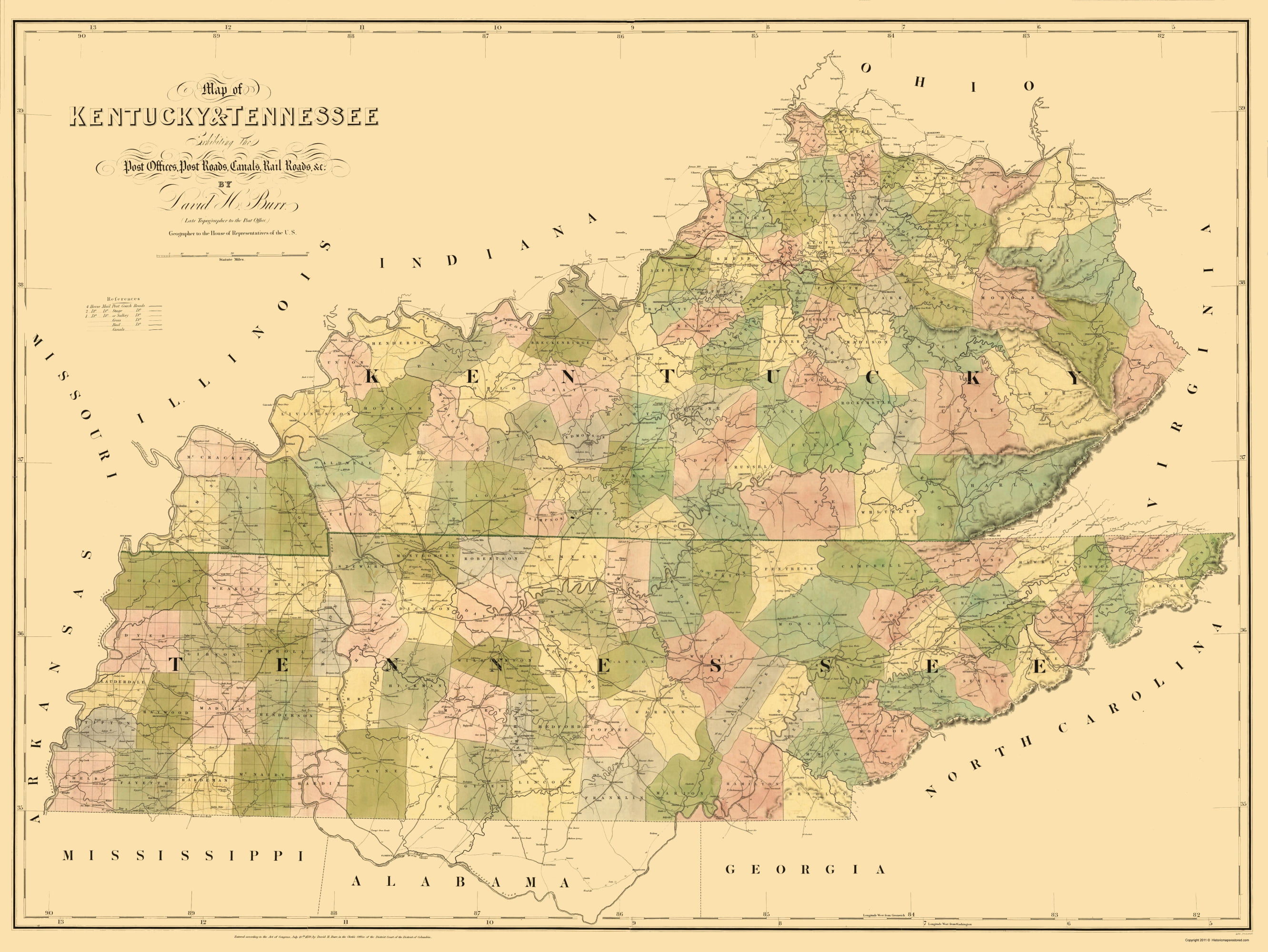 State Map Kentucky.Old State Map Kentucky Tennessee Burr 1839 23 X 30 62