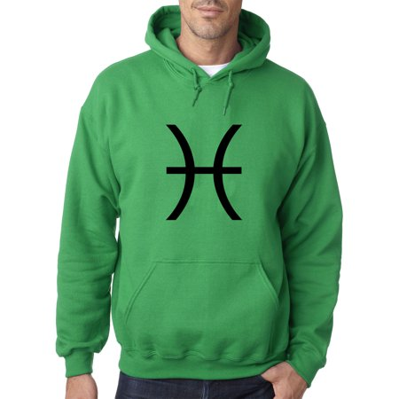 New Way 959 - Adult Hoodie Pisces Symbol Zodiac Sign The Fish Sweatshirt Small Kelly Green