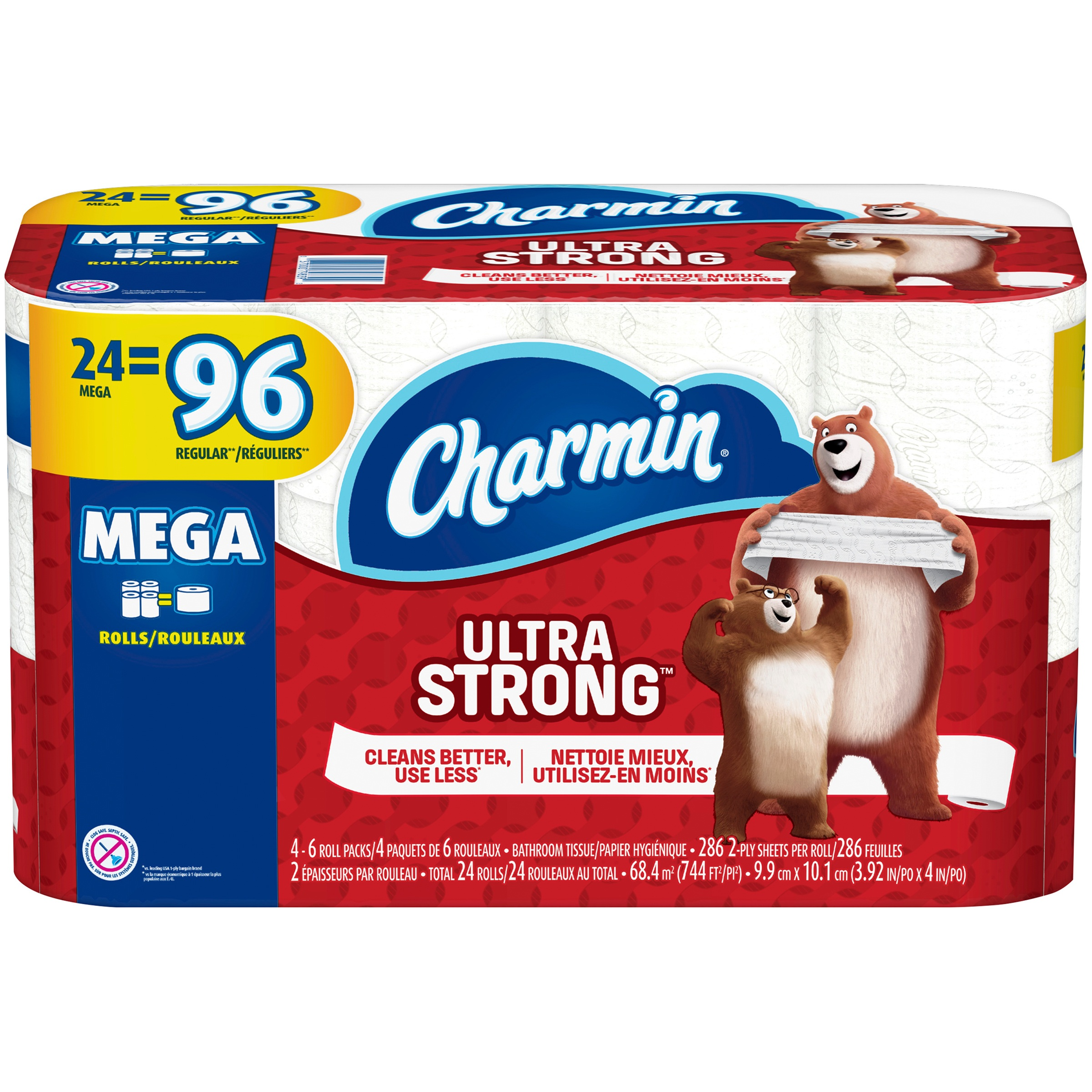 Charmin Ultra Strong Toilet Paper 24 Mega Rolls, 286 sheets per roll