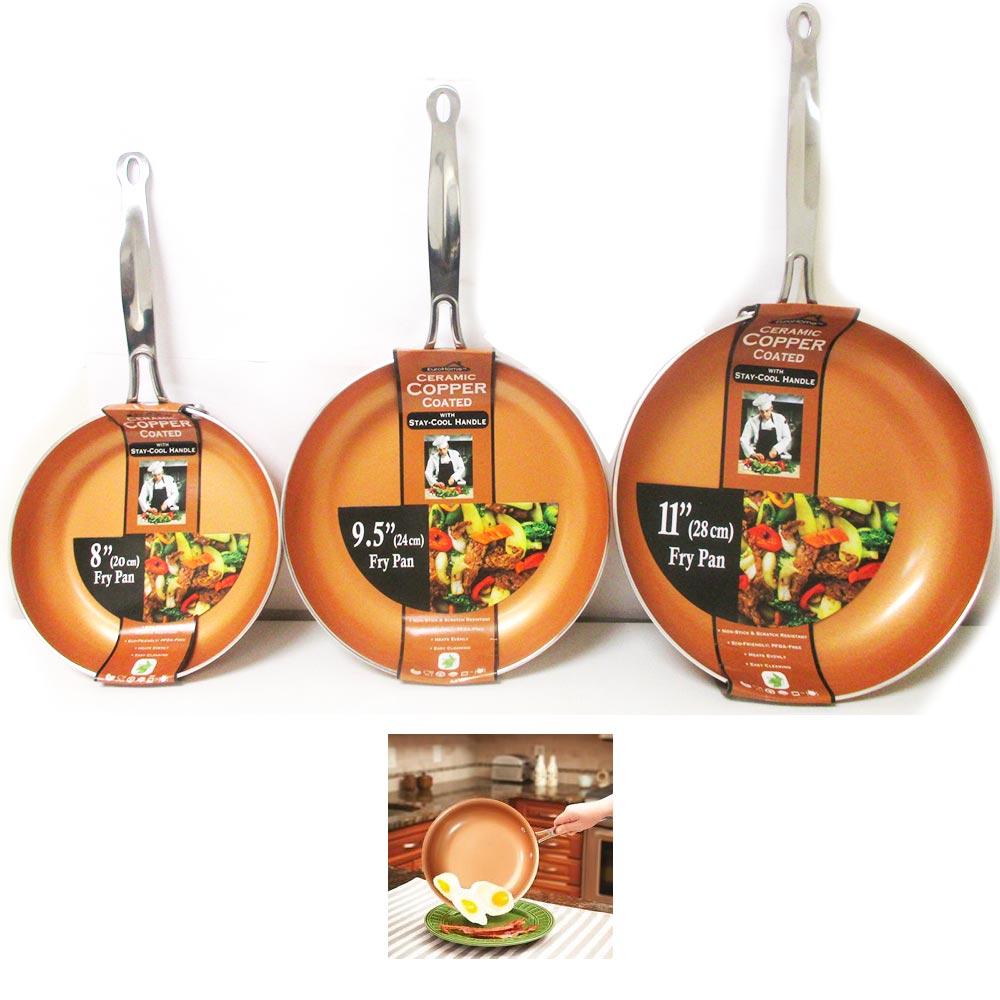 "3 Ceramic Copper Coated Non Stick Fry Pan Set Eco PFOA free Cookware 8"" 9.5"" 11"""