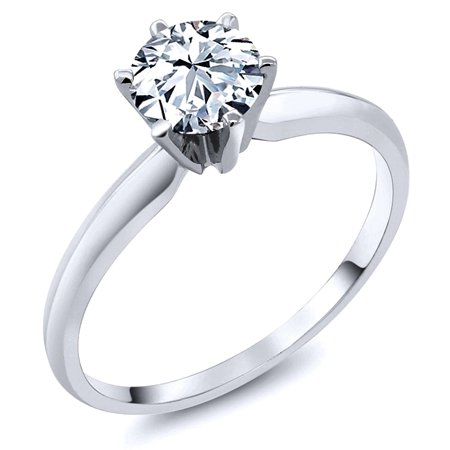 Sterling Silver Cubic Zirconia Solitaire 1 25 Carat Tw Round Cut 6 Prong Set Cz Engagement Ring  Nickel Free Sz 7
