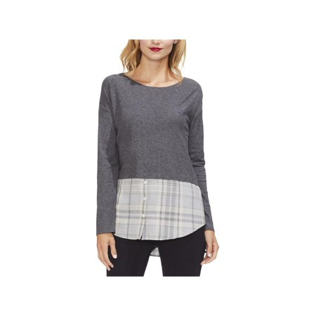 Vince Camuto Womens Plaid Heathered Tunic Top Cashmere Cotton Tunic