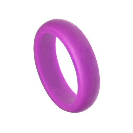 Sports Ring - 6MM Men or Ladies Athlete Sports Flexible PURPLE Silicon Rubber Wedding Band Ring
