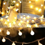 EEEKit LED String Lights, 16.5ft 50Led Waterproof Ball Lights, Battery Powered Starry Fairy Globe String Lights with Remote Timer for Bedroom, Garden, Christmas Tree, Wedding, Party (Warm Light)