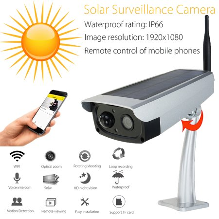 Solar WiFi Wireless IP Surveillance Security Camera Set IP66 Waterproof Outdoor Indoor 1080P HD Night Vision Remote Control PIR Human Body Indruction Infrared motion
