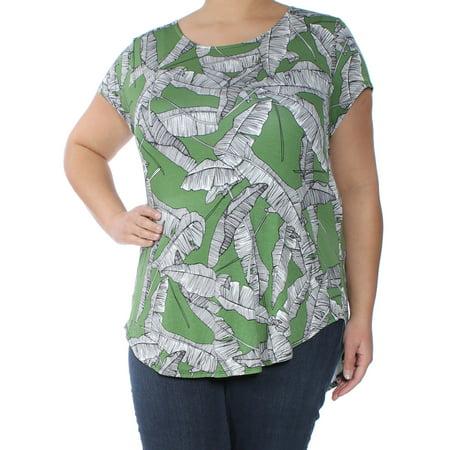 ALFANI Womens Green Floral Short Sleeve Scoop Neck Top  Size: XXL](Xxl Suits)