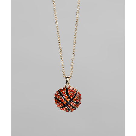 - Lux Accessories Gold & Orange Basketball Pendant Necklace Kids Girls Women's