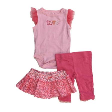 Infant Girls Pink Love Baby Outfit Leopard Print Bodysuit Pants & Skirt Set