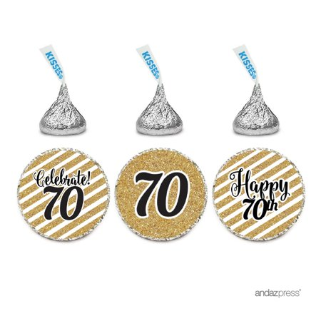 70th Birthday Decor (Milestone Chocolate Drop Labels Trio, Fits Hershey's Kisses Party Favors, 70th Birthday, 216-Pack, Not Real)