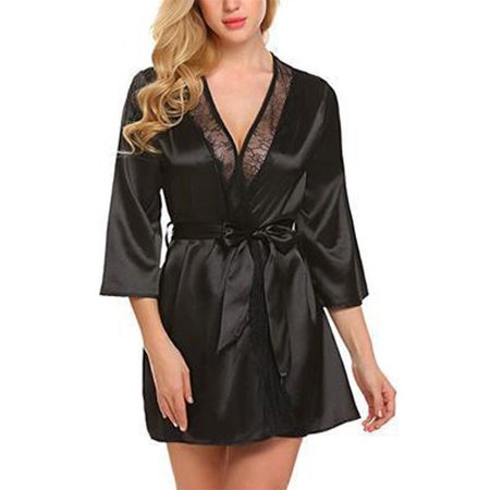 3efba972f ZAXARRA - Women Satin Lace Silk Underwear Lingerie Nightdress Sleepwear  Robe Plus Size Black S - Walmart.com