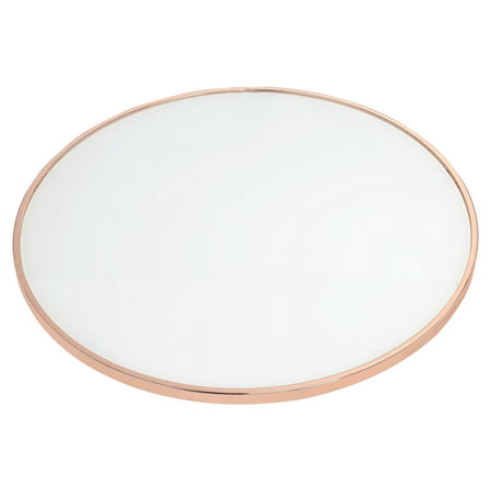 "ACME Alivia White Glass End Table, Rose Gold Base, 22""W"