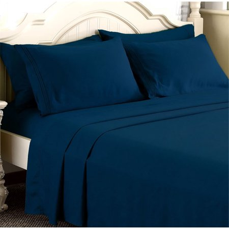 Empire Linen 1800 Series Deep Pocket 4pc Bed Sheet Set Queen Size, Navy Blue color