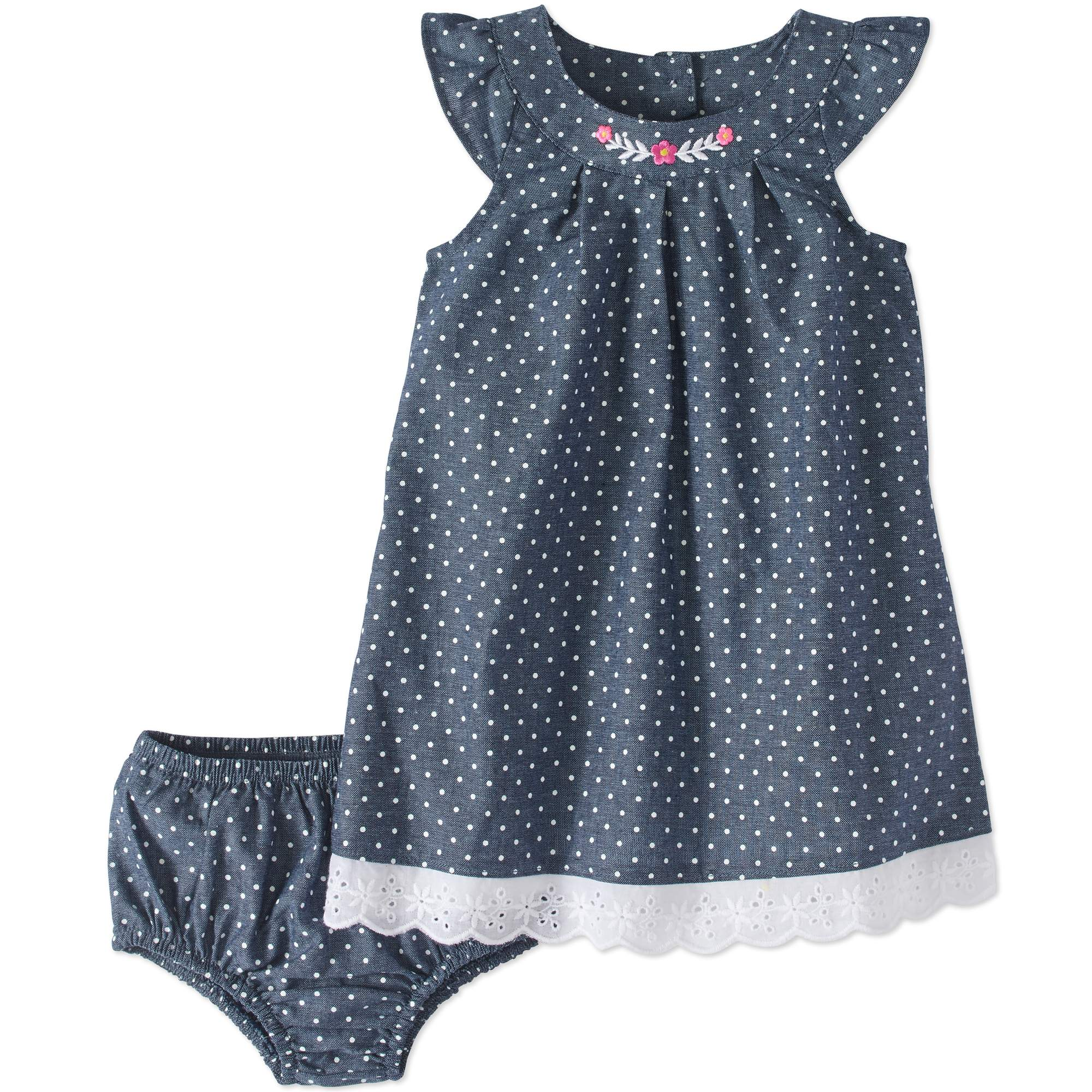 Healthtex Baby Girl Lace Trim Woven Dress & Diaper Cover, 2pc Set