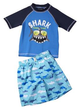 Shark Rashguard & Swim Trunks 2pc Set (Toddler Boys)