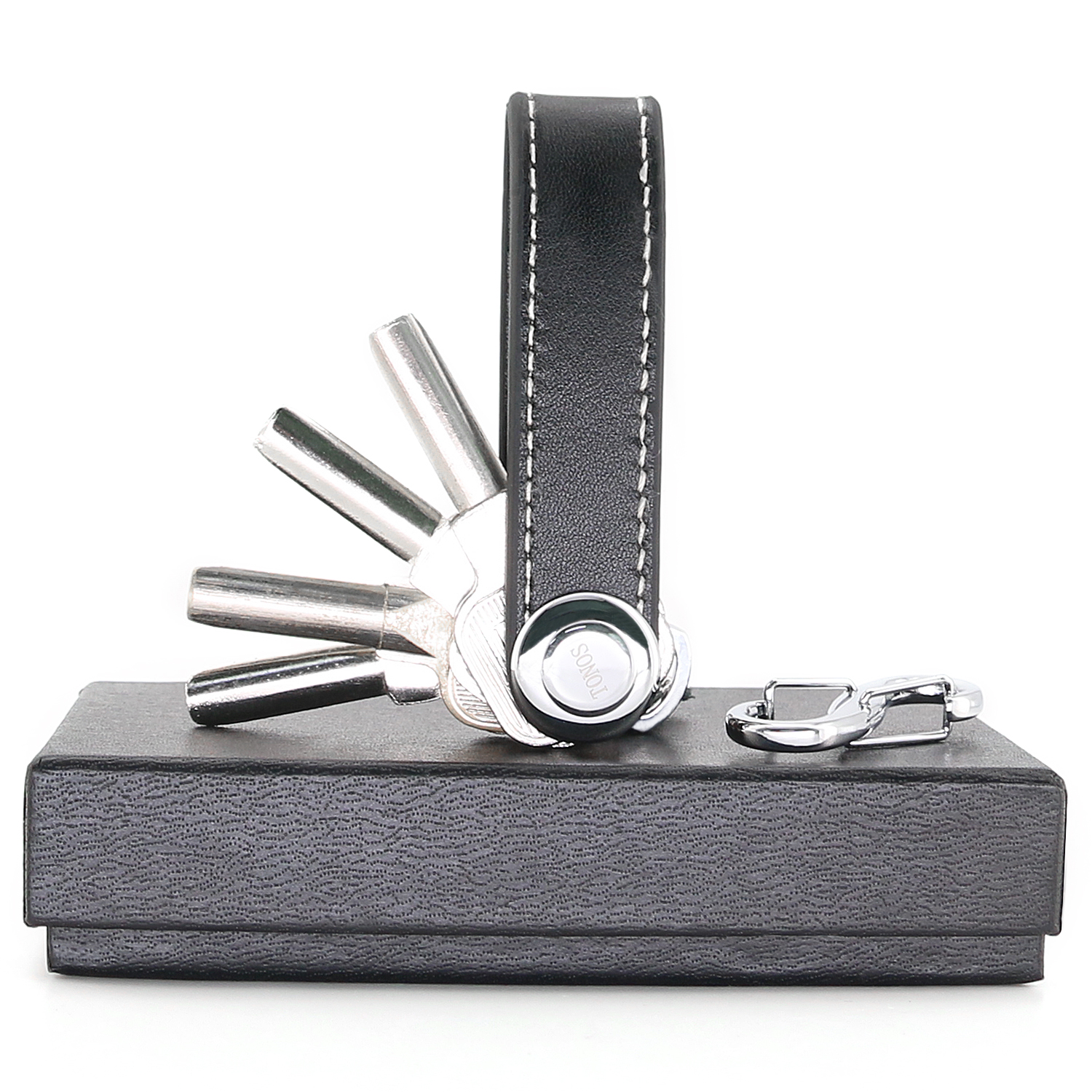 Compact Key Chain Organizer With Leather Strap, Smart Key Ring Holds 8 Keys and Tools, Perfect For Pockets, Purses, and Bags (Black)