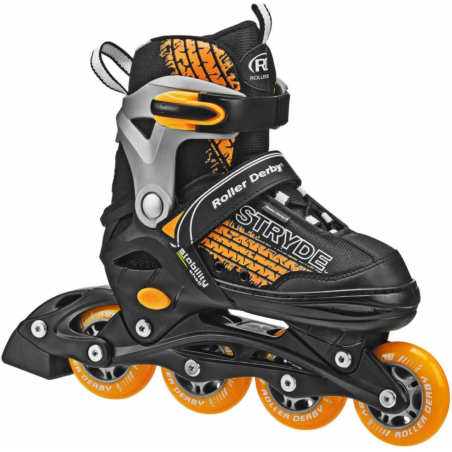 Stryde Boys' Adjustable Inline Skates, Black/Orange