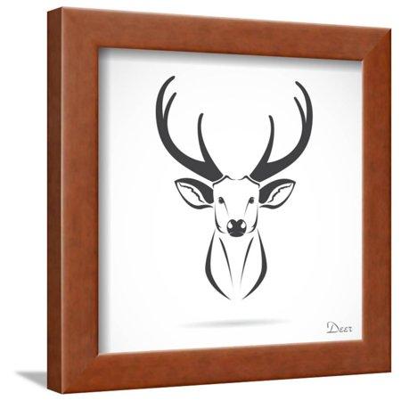 Vector Image of an Deer Head Framed Print Wall Art By yod67 ()