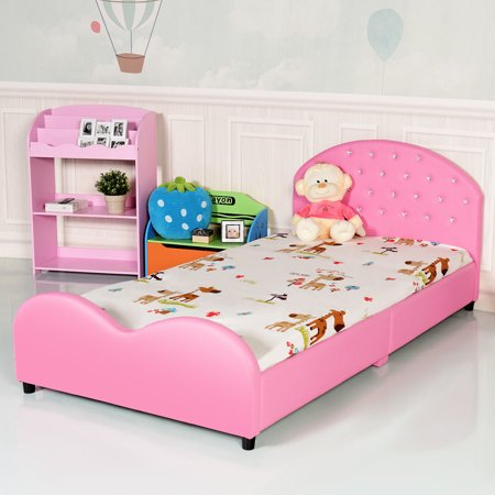 Costway Kids Children Pu Upholstered Platform Wooden