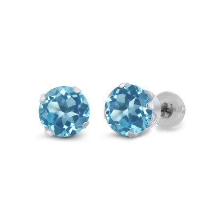 14k White Gold Blue Topaz Earrings - 1.80 Ct Round Swiss Blue Topaz 14K White Gold Earrings