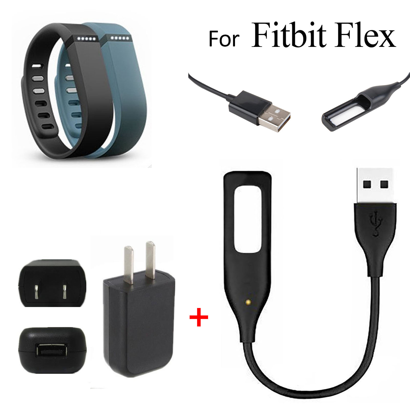 USB AC Wall Charger+USB Charging Cable for Fitbit Flex Wireless Activity Sleep Wristband, EEEKit 2in1 Kit