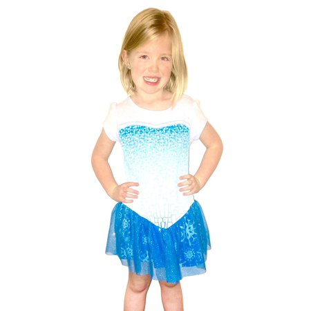 Frozen I Am Elsa Girls Short Sleeve Glitter Blue Costume Dress