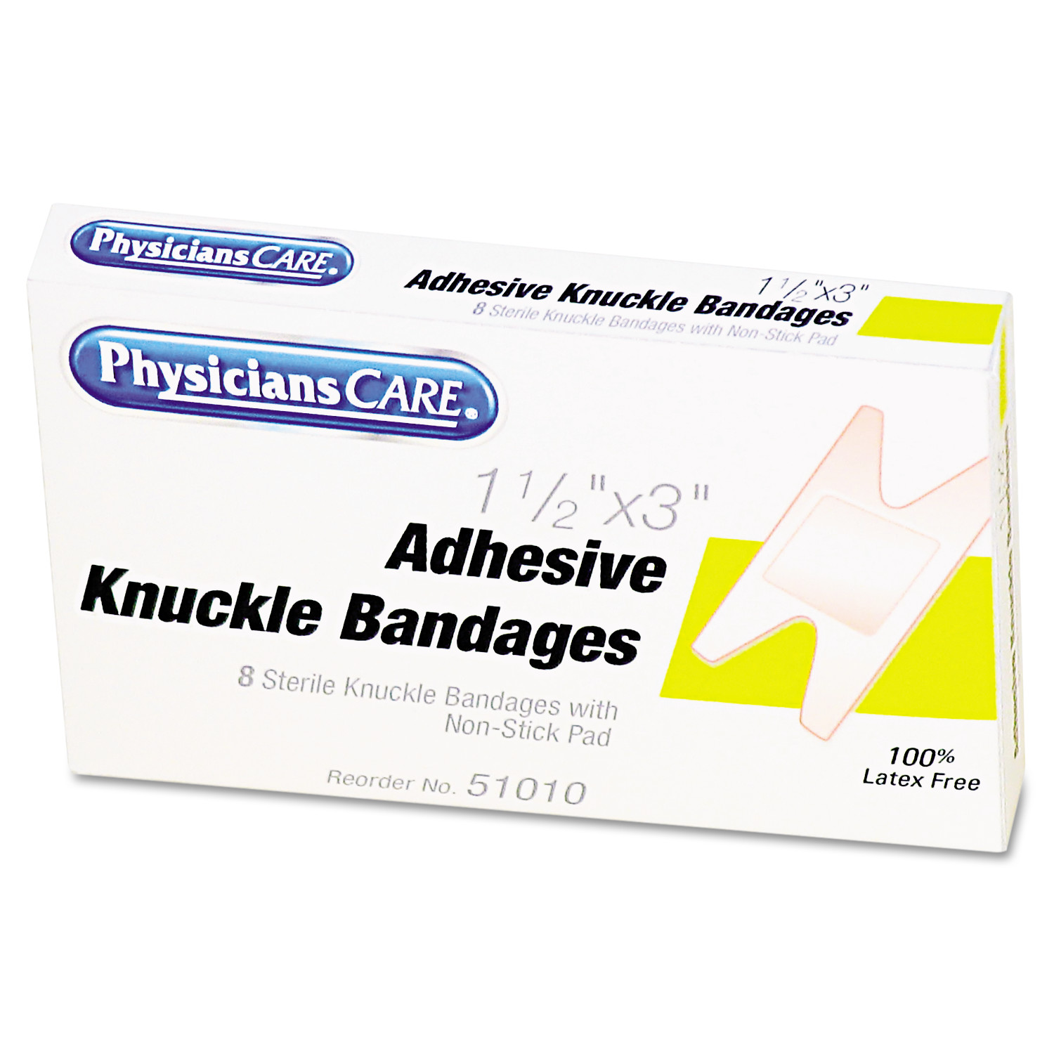 PhysiciansCare by First Aid Only First Aid Fabric Knuckle Bandages, 8/Box