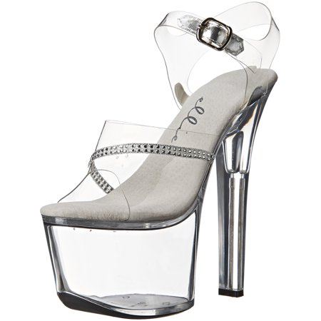 7 Inch Women's Sexy High Heel Shoes Platform Sandal With Rhinestones Clear Sexy Rhinestone Heels