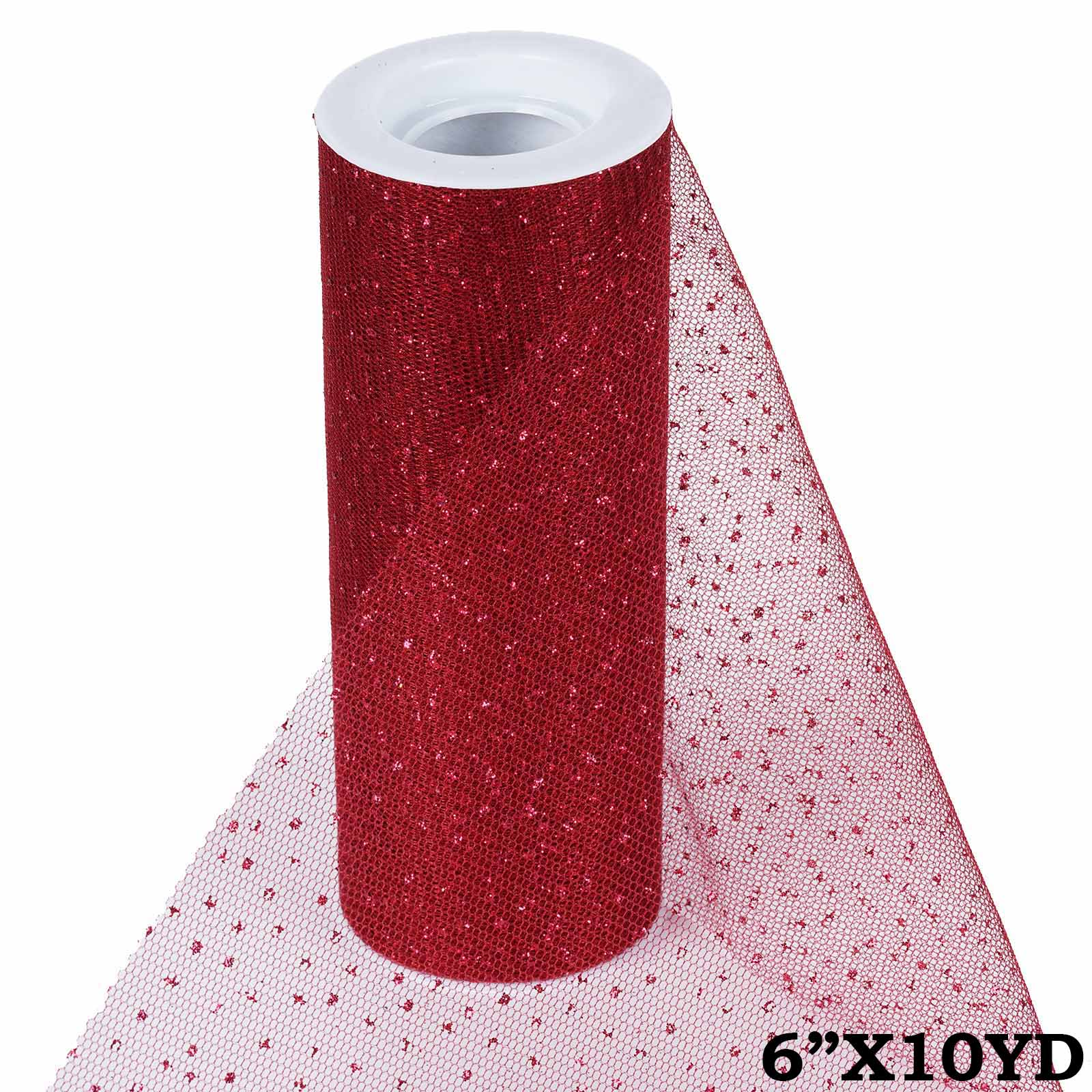 Efavormart Wedding Banquet Party Decoration Glittered Tulle Ribbon Roll 6 inches x 10 yards