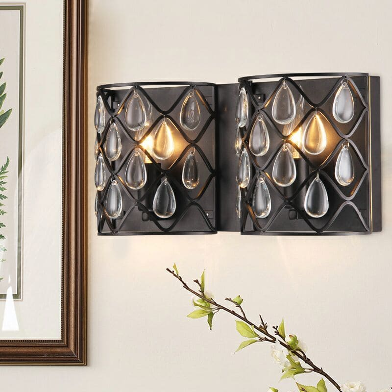 Metal and Glass 2-light Wall Sconce
