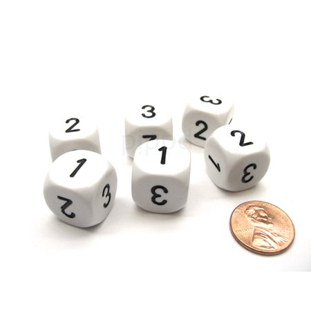 Three Man Dice (Opaque 16mm D3 Chessex Dice, 6 Pieces (D6 with 1-2-3 Twice) - White with)