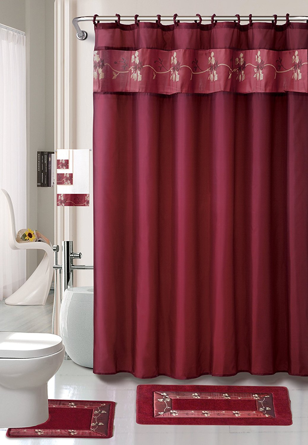 22 Piece Bath Accessory Set Burgundy Red Bath Rug Set Shower Curtain Accessories Walmart Com Walmart Com