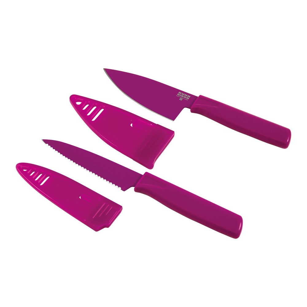 Kuhn Rikon Colori Mini Chef's Knife and Paring Knife Set, Plum