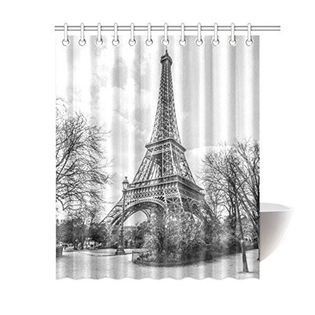 MYPOP Frech Paris Eiffel Tower City Of Love Black White Mildew Resistant Waterproof Fabric Polyester Shower Curtains 60 X 72 Inches