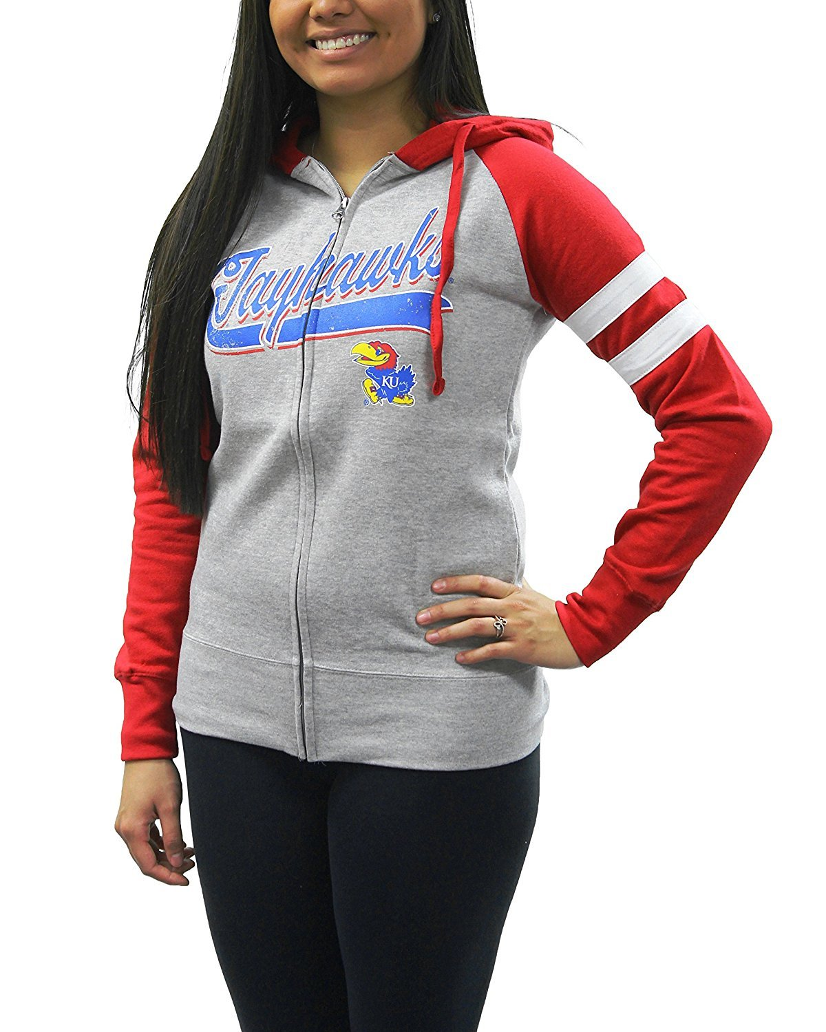 Creative Apparel Women's NCAA Kansas University Jayhawks Sweat Jacket Hoodie by Creative Apparel